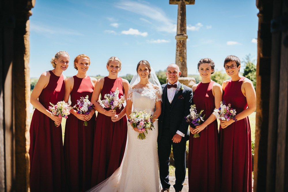 Bride Bridal Dress Gown Sweetheart Bolero Off Shoulder Lace Navy Suit Groom Oxblood Bridesmaids Maxi Full Length Kittisford Barton Wedding Joab Smith Photography