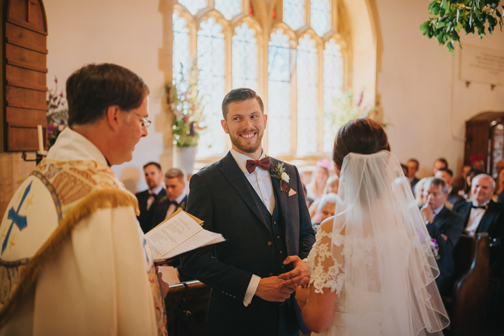 Navy Suit Groom Burgundy Oxblood Bow Tie Veil Bride Bridal Kittisford Barton Wedding Joab Smith Photography