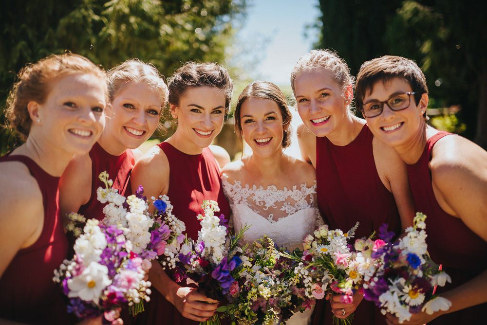 Bride Bridal Dress Gown Sweetheart Bolero Off Shoulder Lace Burgundy Oxblood Bridesmaids Halter Neck Kittisford Barton Wedding Joab Smith Photography