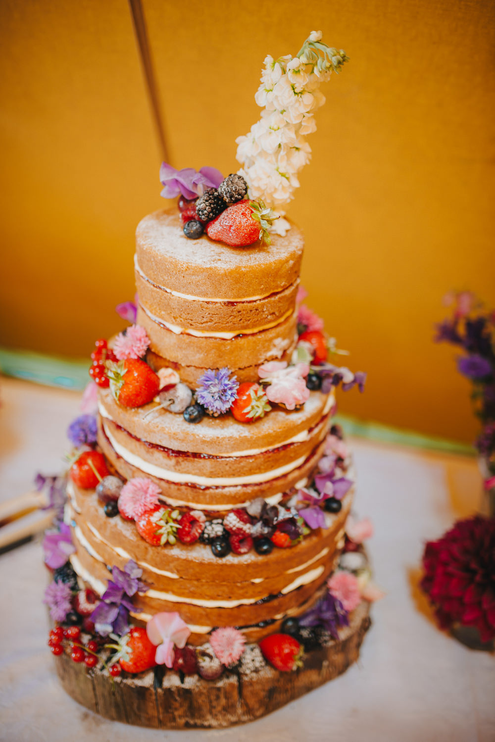Naked Cake Fruit Flowers Wood Slice Kittisford Barton Wedding Joab Smith Photography