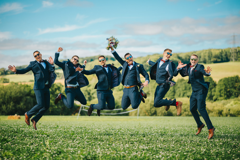 Groomsmen Navy Suit Groom Burgundy Oxblood Bow Tie Kittisford Barton Wedding Joab Smith Photography