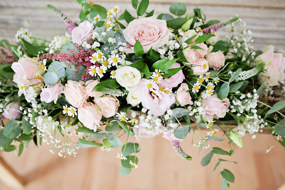 Flowers Pink Lisianthus Daisy Ceremony Table Rose Milling Barn Wedding Victoria Mitchell Photography