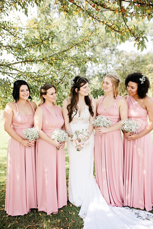 Bridesmaids Pink Bridesmaid Dress Dresses Long Maxi Multiway Milling Barn Wedding Victoria Mitchell Photography