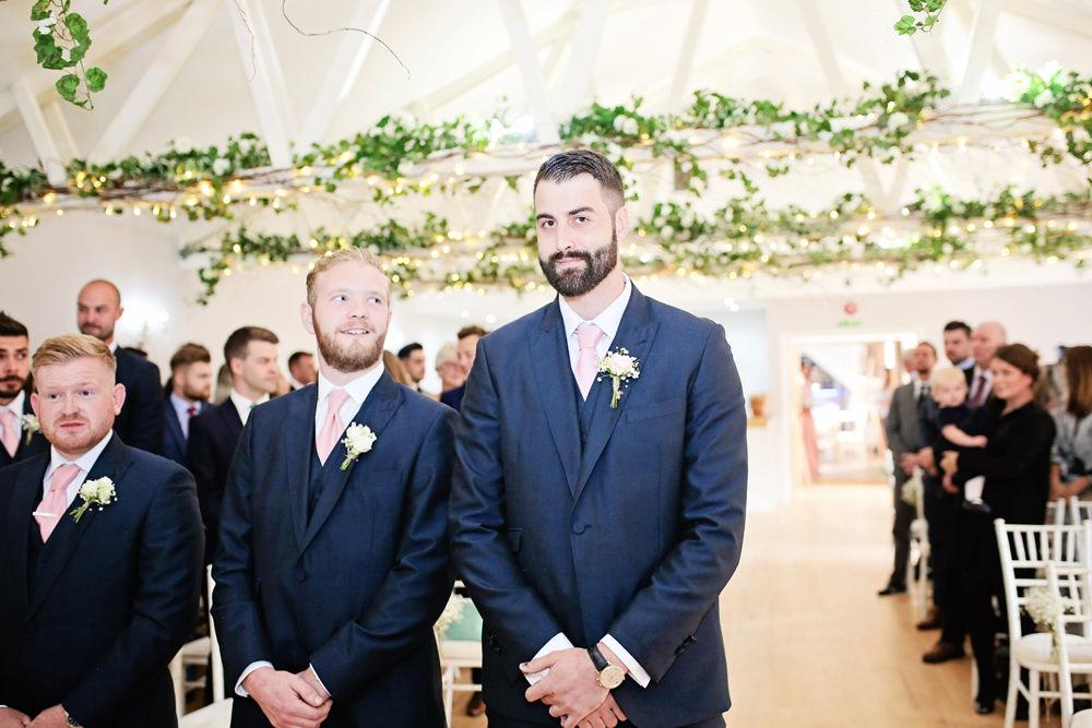 Groom Suit Navy Pink Tie Groomsmen Milling Barn Wedding Victoria Mitchell Photography