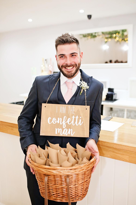 Confetti Groomsmen Sign Basket Signage Milling Barn Wedding Victoria Mitchell Photography