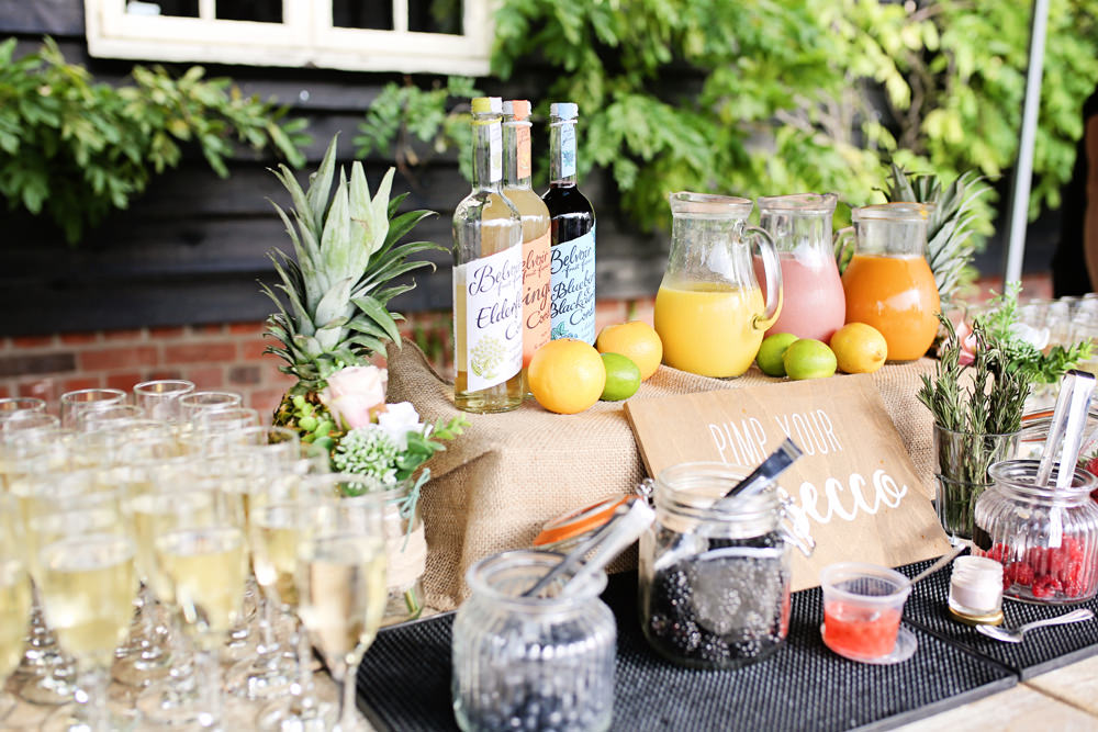 Pimp Your Prosecco Bar Stand Station Milling Barn Wedding Victoria Mitchell Photography