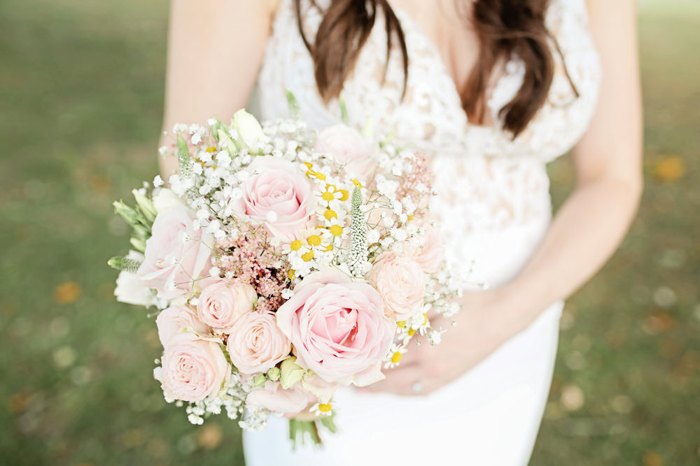 Bouquet Flowers Bride Bridal Pink Rose Gypsophila Daisy Milling Barn Wedding Victoria Mitchell Photography