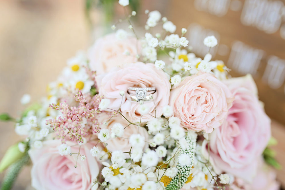 Bouquet Flowers Bride Bridal Pink Rose Gypsophila Daisy Rings Bands Engagement Milling Barn Wedding Victoria Mitchell Photography