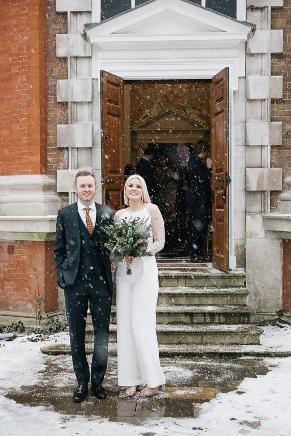 Bride Bridal House of Ollichon Jumpsuit Trousers Lace Sleeves Back Greenery Foliage Bouquet Flowers Orleans House Gallery Wedding My Beautiful Bride Photography