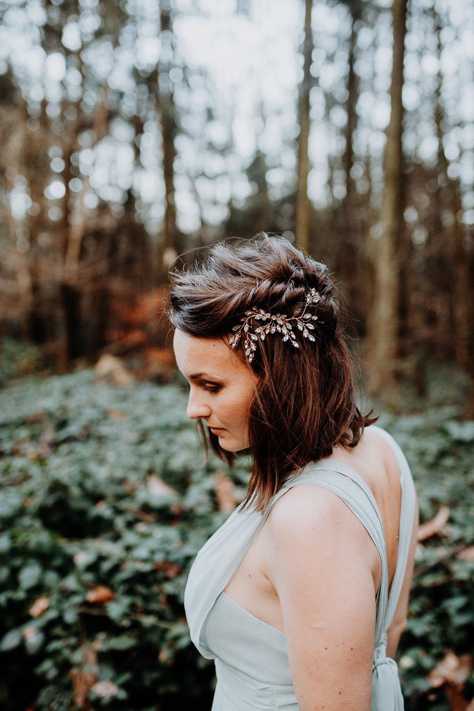 Bride Bridal Bridesmaid Hair Style Half Up Half Down Accessory Twist Outdoor Woodland Wedding Ideas Geometric Meraki Wedding Photography