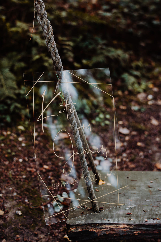 Perspex Acrylic Clear Sign Signage Gold Calligraphy Outdoor Woodland Wedding Ideas Geometric Meraki Wedding Photography