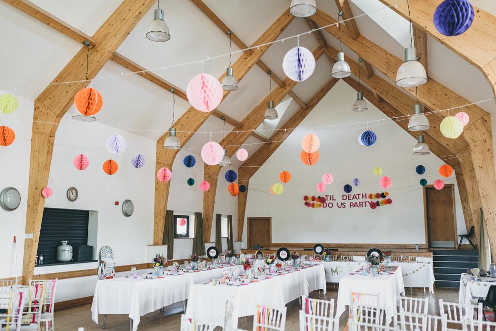 Banner Sign Signage Til Death Us Do Party Lanterns Decor Colourful Rock Village Hall Wedding Lucie Hamilton Photography