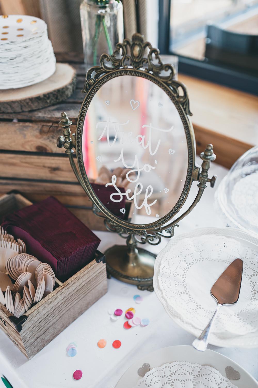 Calligraphy Mirror Sign Treats Dessert Table Rock Village Hall Wedding Lucie Hamilton Photography