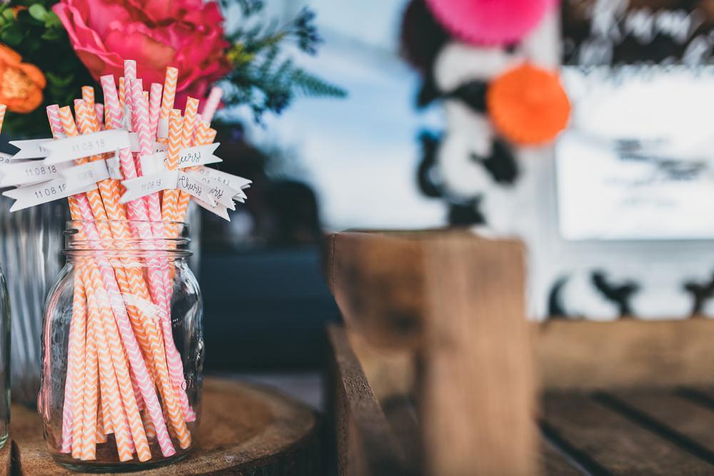 Chevron Straws Flags Rock Village Hall Wedding Lucie Hamilton Photography