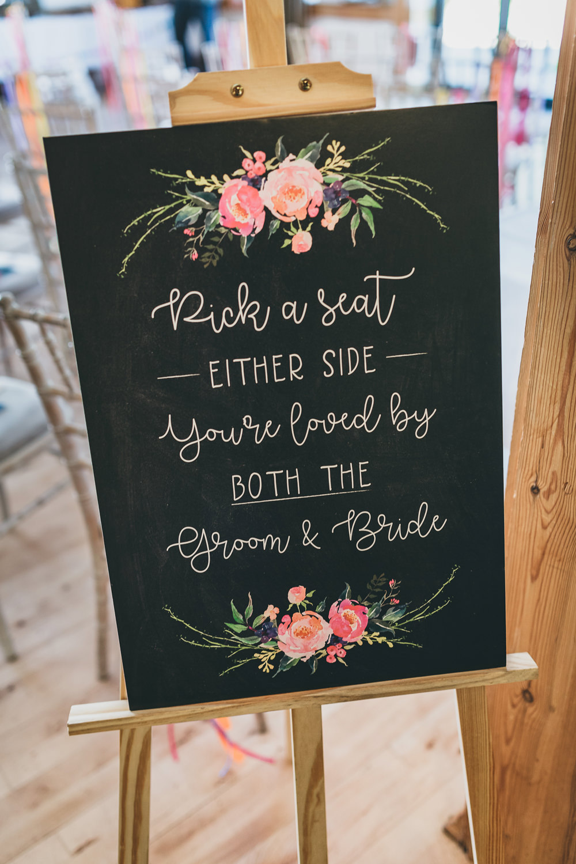 Ceremony Sign Signage Chalk Black Board Floral Calligraphy Rock Village Hall Wedding Lucie Hamilton Photography