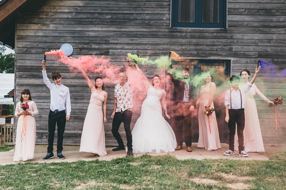 Smoke Bomb Portrait Photo Photographs Rock Village Hall Wedding Lucie Hamilton Photography
