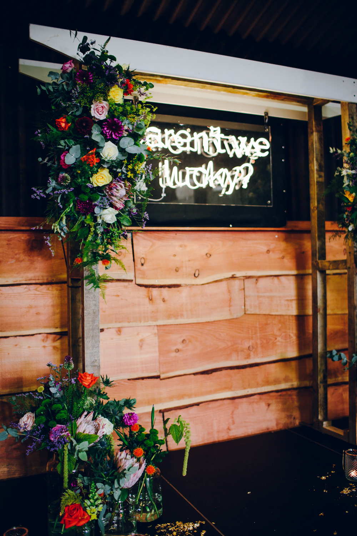 Neon Sign Multicoloured Florals Tatton Wedding Stock Farm Barn Amy B Photography