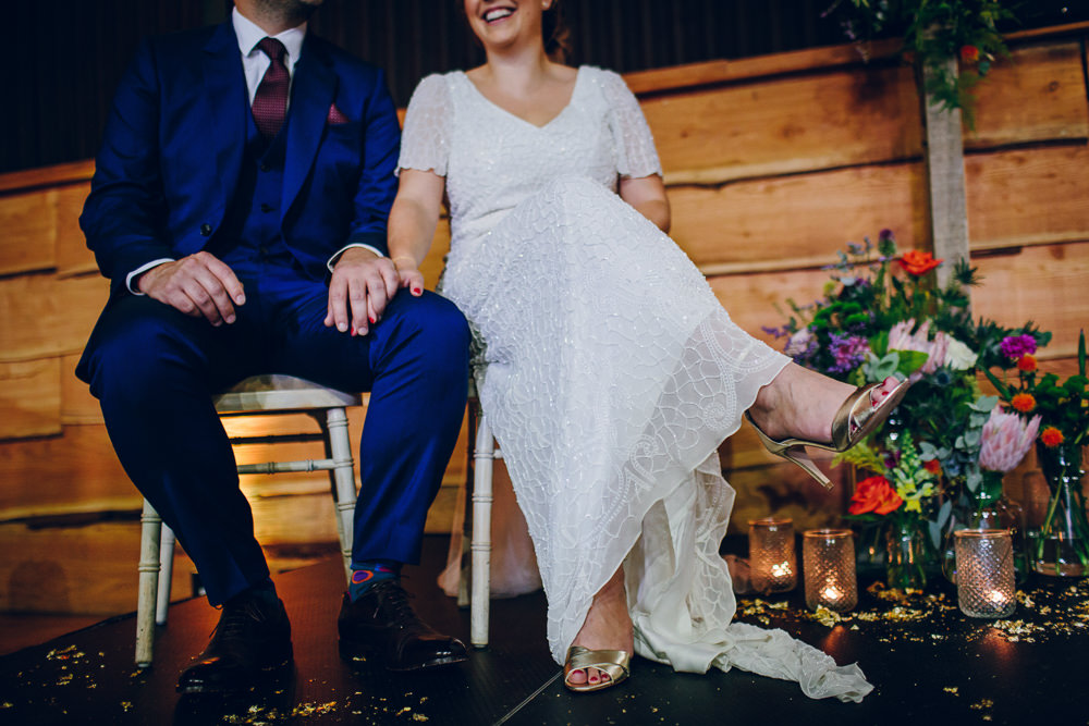 Bride Bridal V Neck Sleeves Beaded Detail Dress Gown Blue Suit Groom Tatton Wedding Stock Farm Barn Amy B Photography
