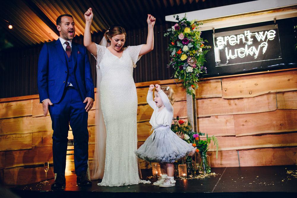 Bride Bridal V Neck Sleeves Beaded Detail Dress Gown Blue Suit Groom Veil Flower Girl Tulle Skirt Tatton Wedding Stock Farm Barn Amy B Photography