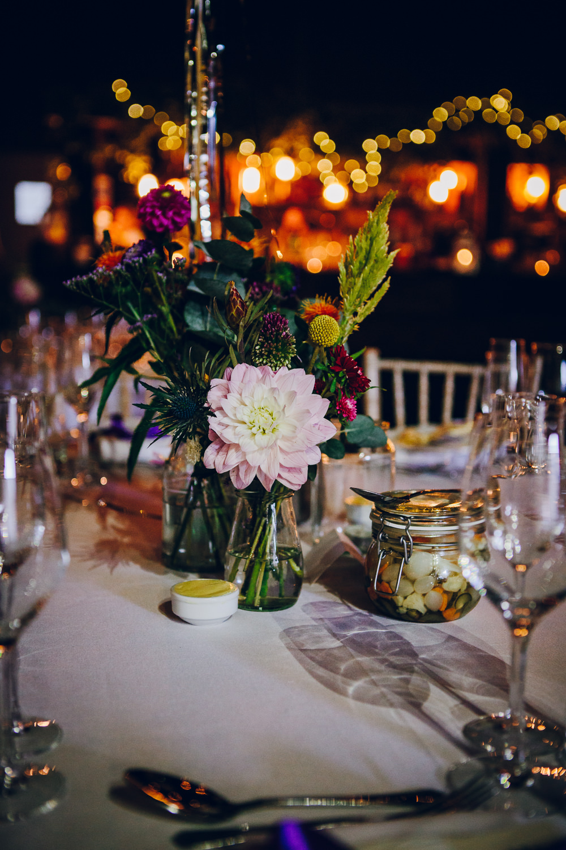 Tropical Flowers Floral Multicoloured Tatton Wedding Stock Farm Barn Amy B Photography