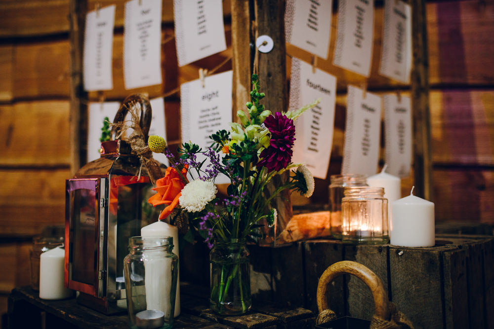 Multicoloured Tropical Flowers Floral Candle Storm Lantern Table Plan Tatton Wedding Stock Farm Barn Amy B Photography