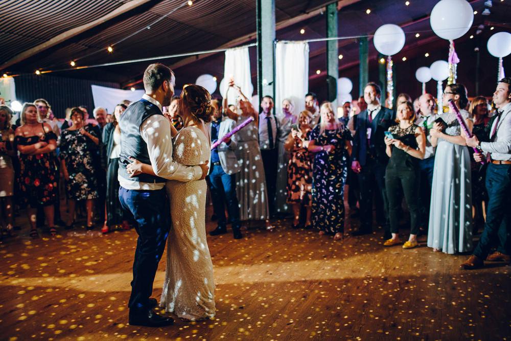 Bride Bridal V Neck Sleeves Beaded Detail Dress Gown Waistcoat Groom Tatton Wedding Stock Farm Barn Amy B Photography
