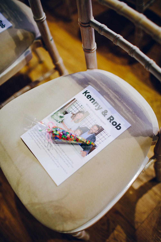 Stationery Order of Service Programme Confetti Cone Tatton Wedding Stock Farm Barn Amy B Photography