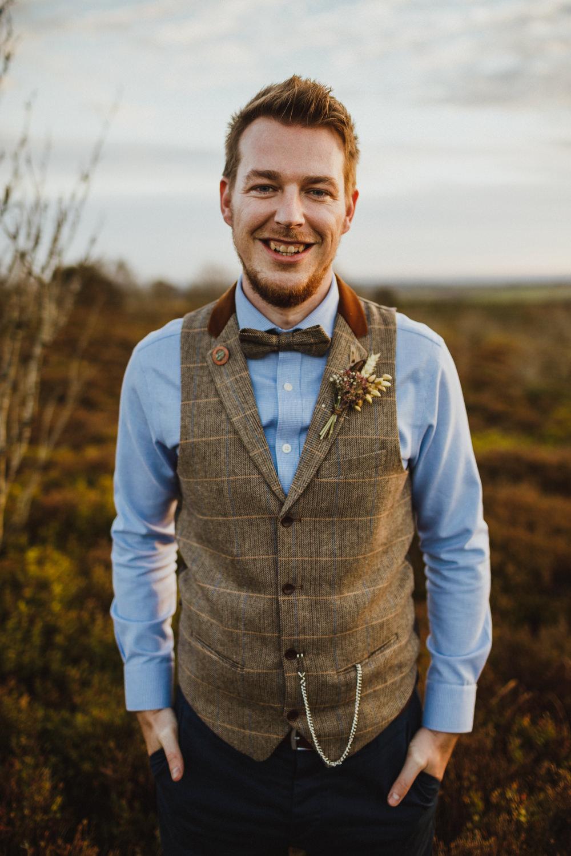 Groom Groomsmen Waistcoat Bow Tie Chinos Train Station Harry Potter Wedding Photography34