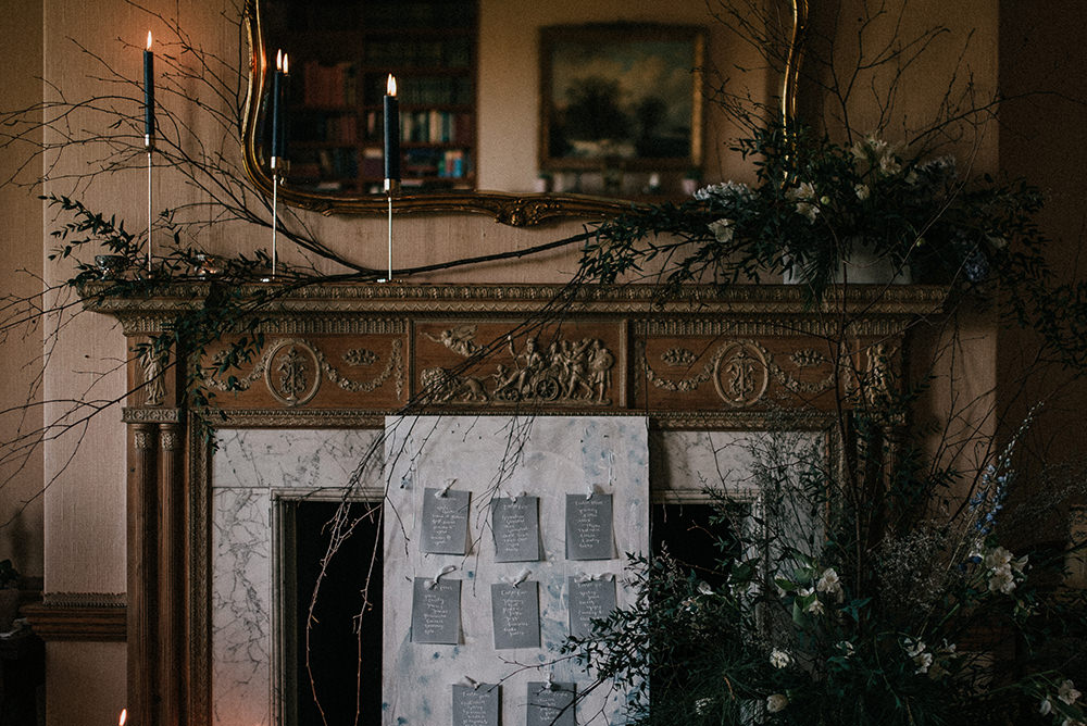 Fireplace Mantle Flowers Candles Decor Blue Wedding Ideas Emma McNair Photography