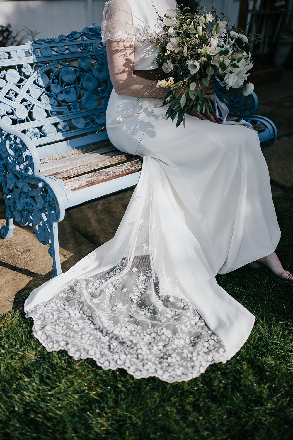 Bride Bridal Dress Gown Top Skirt Crop Sleeves Lace Two Piece Train Blue Wedding Ideas Emma McNair Photography