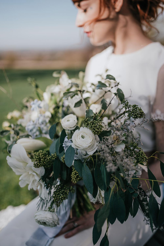 Bride Bridal Bouquet Flowers White Greenery Foliage Ranunculus Blue Wedding Ideas Emma McNair Photography