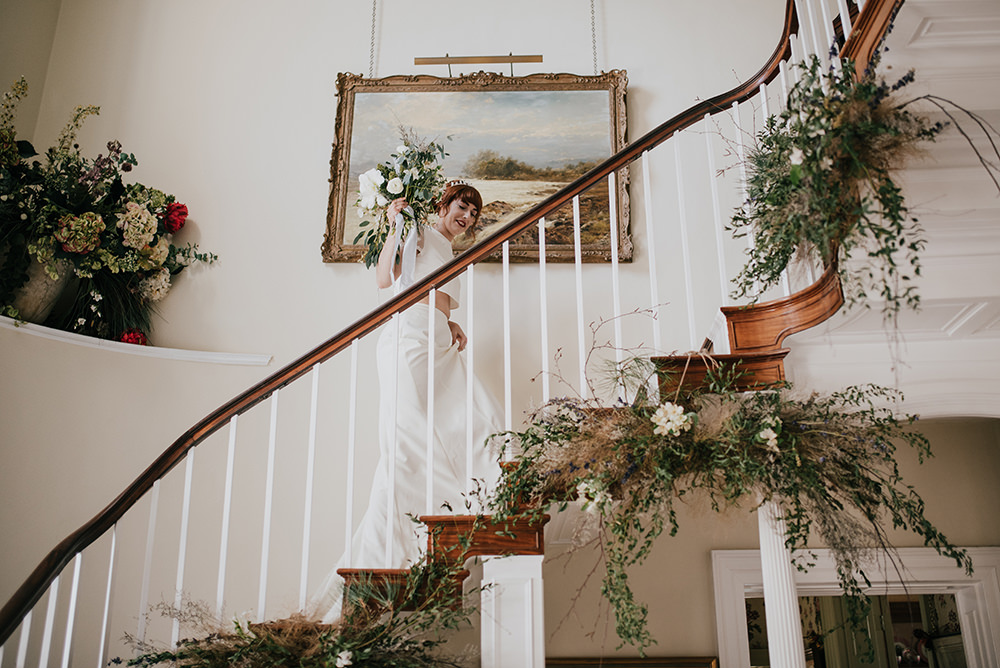 Stairs Staircase Flower Installation Greenery Foliage Arrangement Blue Wedding Ideas Emma McNair Photography