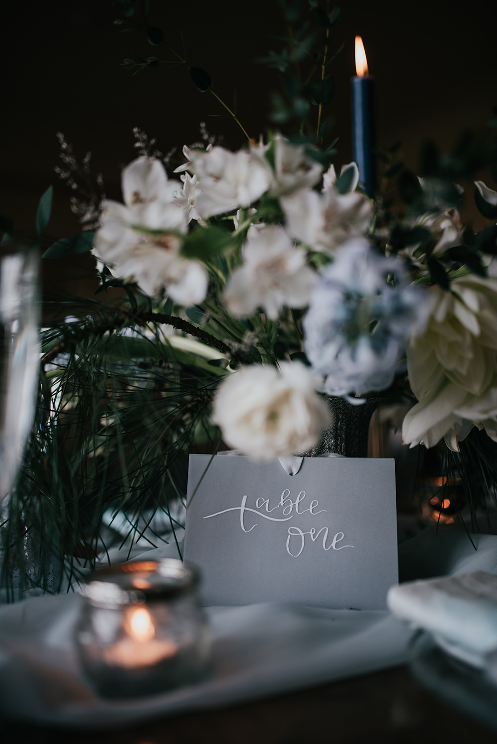 Grey White Calligraphy Table Name Number Blue Wedding Ideas Emma McNair Photography