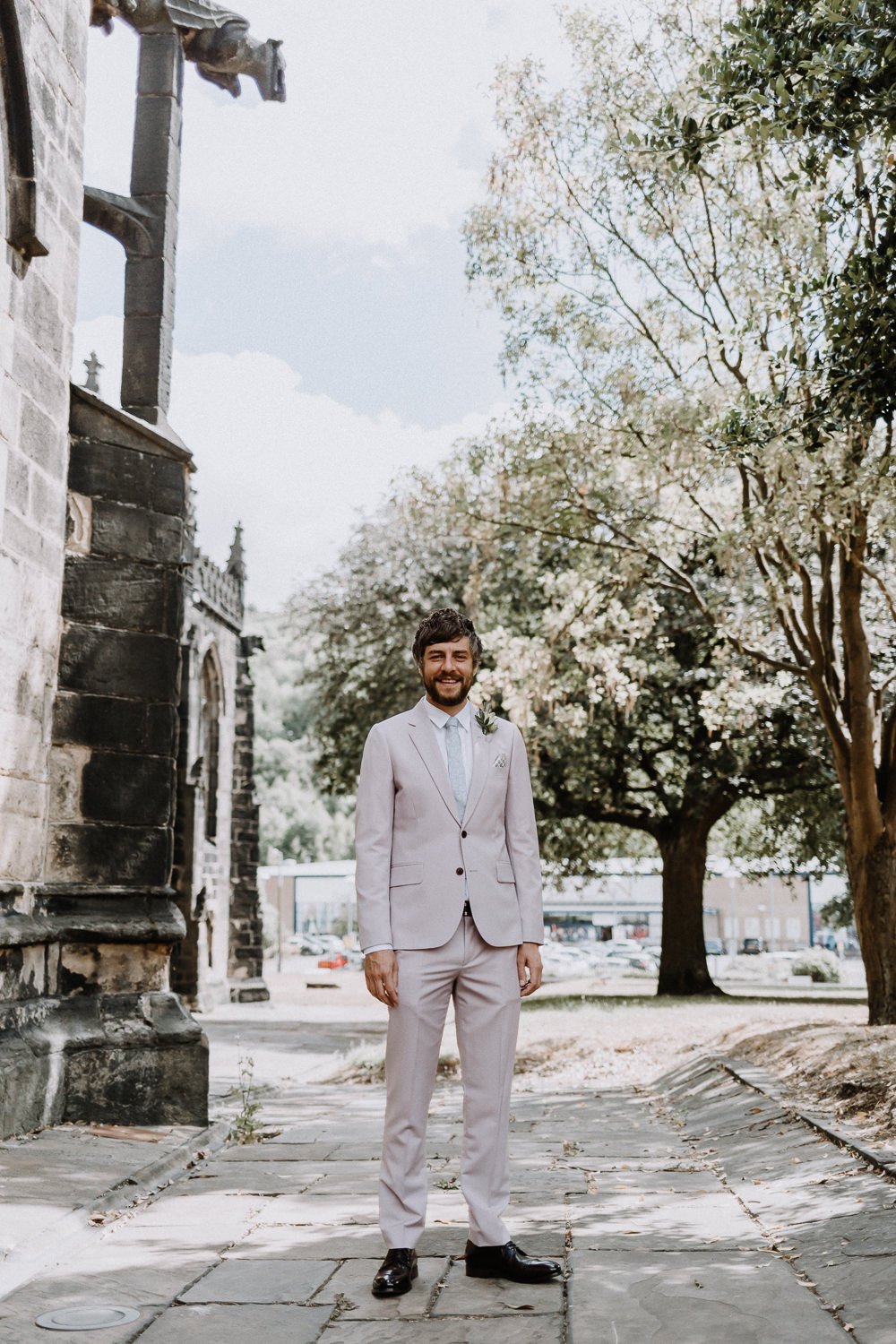 Groom Suit Cream Light Pastel Pink Tie Botanical Industrial Wedding Caitlin and Jones Photography