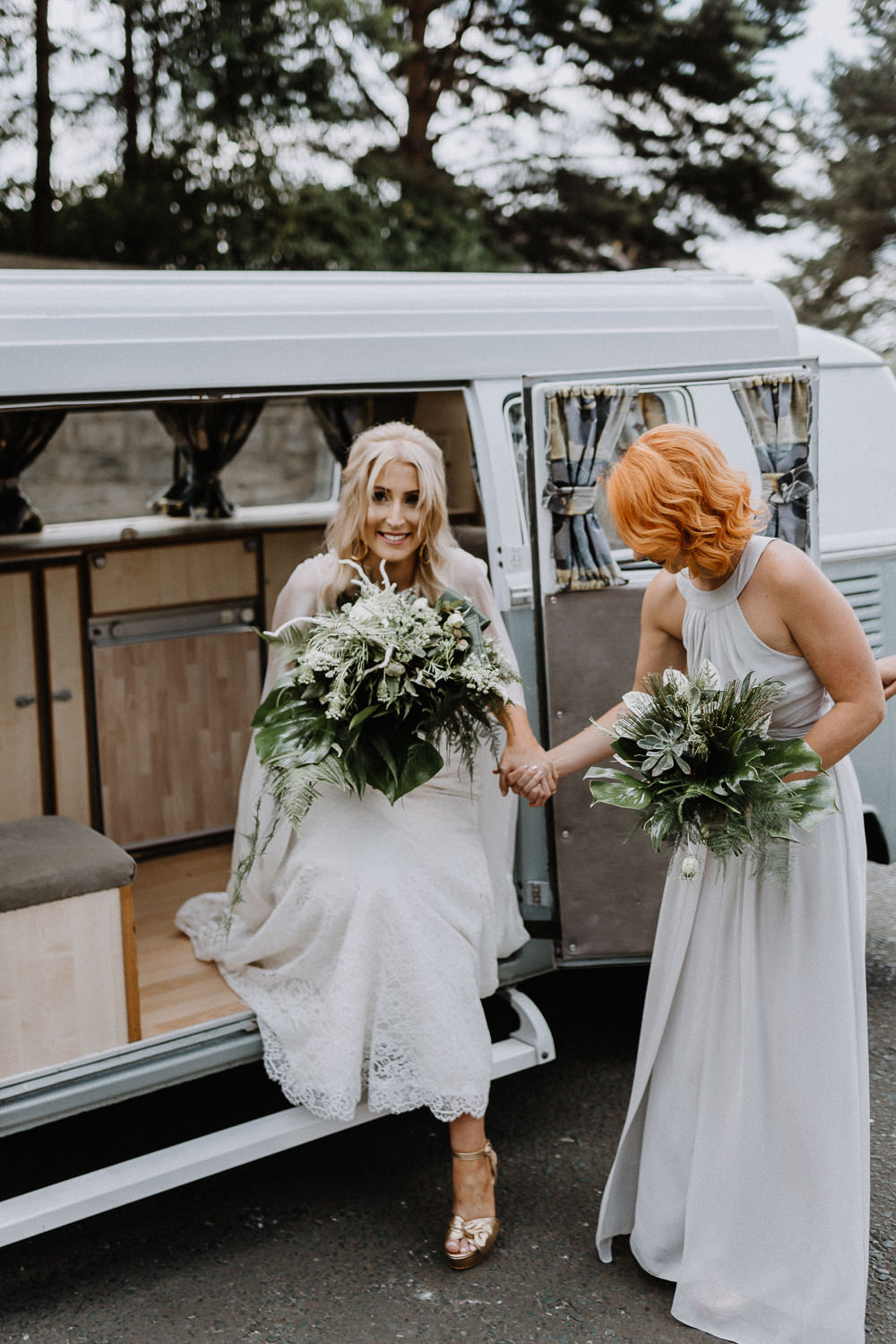 VW Campervan Transport Botanical Industrial Wedding Caitlin and Jones Photography