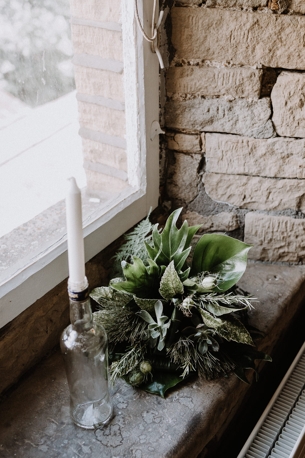 Candles Greenery Foliage Flowers Decor Botanical Industrial Wedding Caitlin and Jones Photography