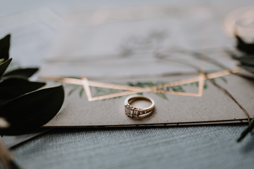 Engagement Ring Gold Trilogy Botanical Industrial Wedding Caitlin and Jones Photography