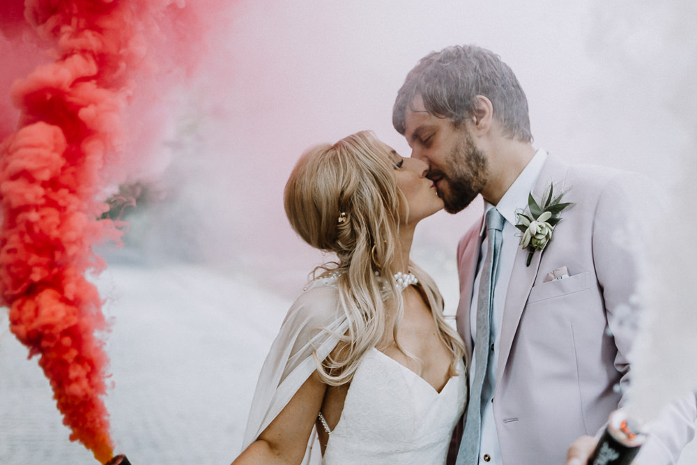 Smoke Bomb Photos Portraits Botanical Industrial Wedding Caitlin and Jones Photography