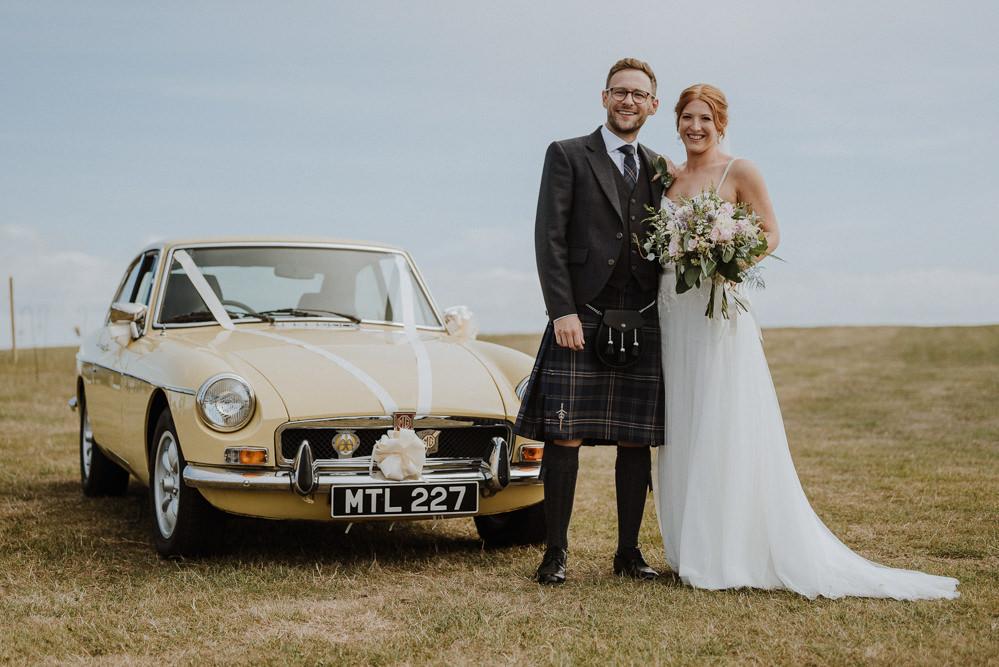 Yellow Classic Car Transport Bre Pen Farm Wedding Nick Walker Photography