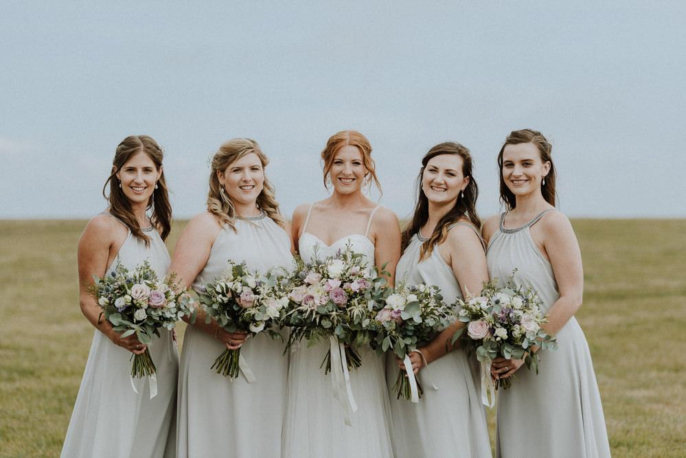 Bridesmaid Bridesmaids Dress Dresses Grey Bre Pen Farm Wedding Nick Walker Photography