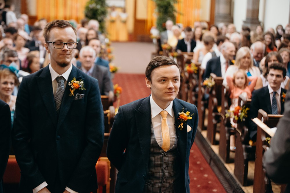 Groom Groomsmen Suits Navu Waistcoat Yellow Tie Colourful Stretch Tent Wedding Peter Mackey Photography