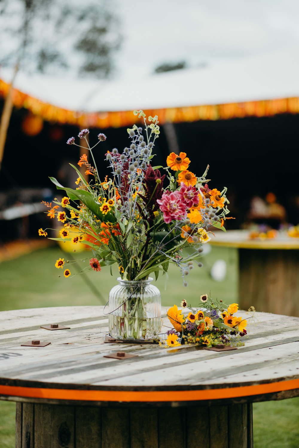 Wild Meadow Flowers Wildflowers Yellow Colourful Stretch Tent Wedding Peter Mackey Photography