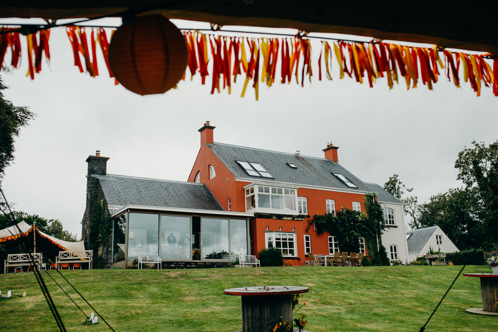 Ribbon Bunting Colourful Stretch Tent Wedding Peter Mackey Photography
