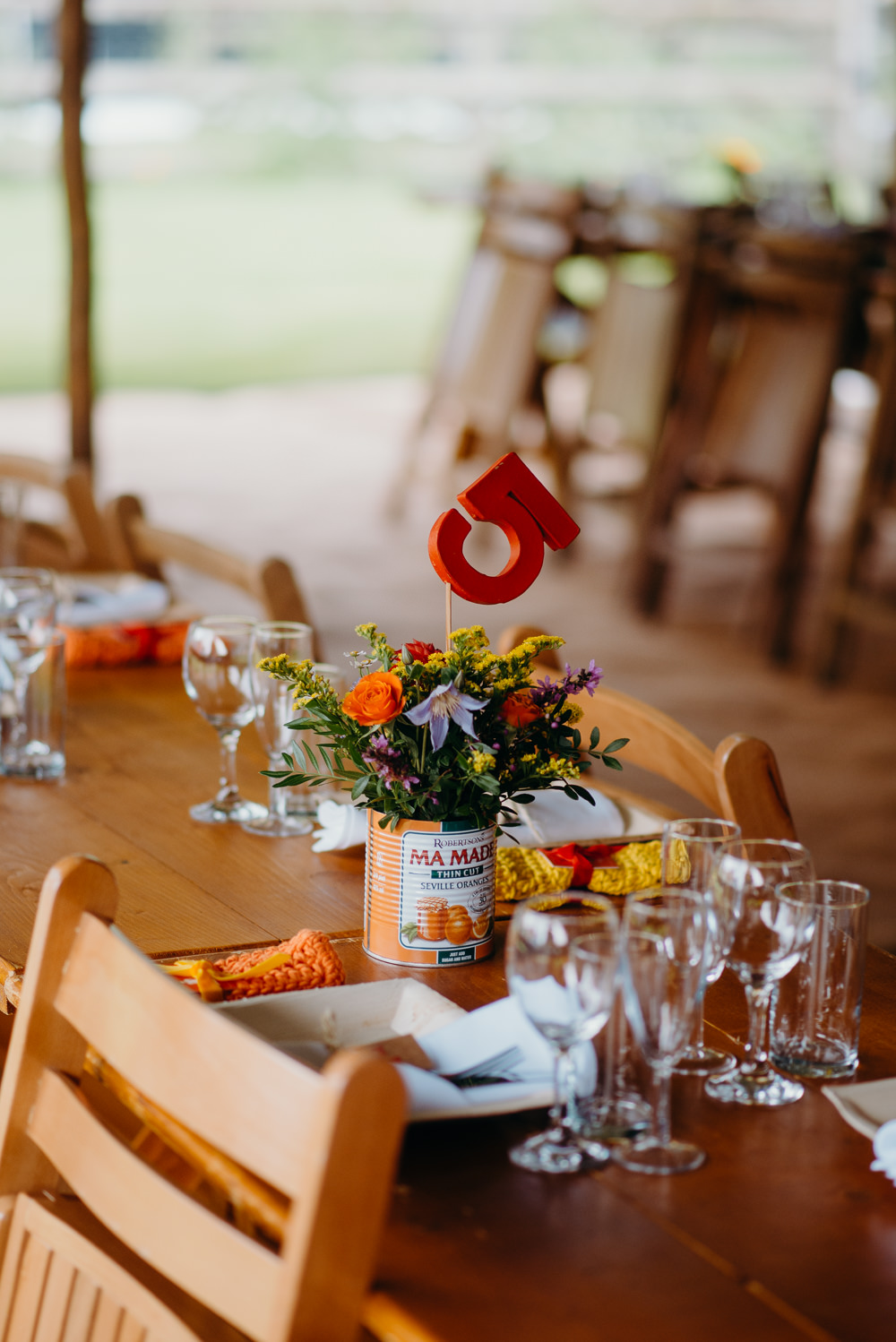Table Number Tin Can Flowers Centrepiece Colourful Stretch Tent Wedding Peter Mackey Photography
