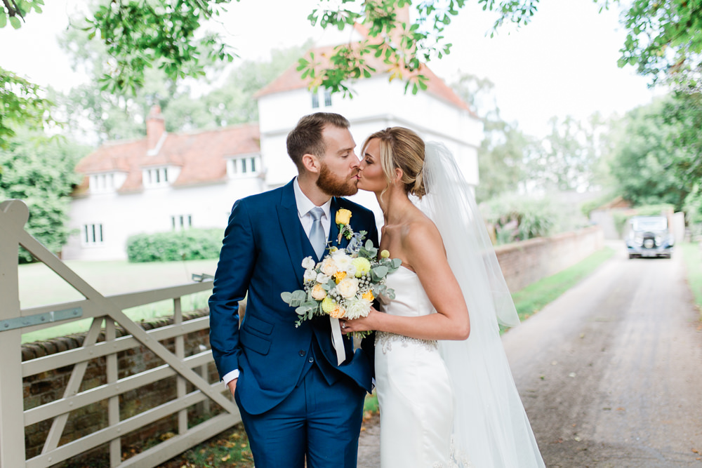 Bride Bridal Sweetheart Neckline Fit And Flare Fishtail Dress Gown Blue Suit Groom Veil Bouquet Creative Summer Wedding Gemma Giorgio Photography