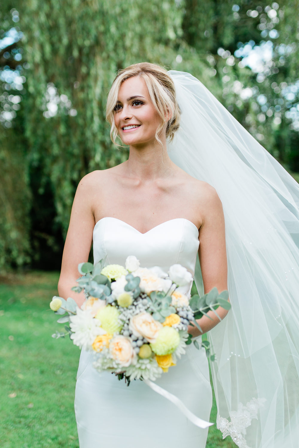 Bride Bridal Sweetheart Neckline Fit And Flare Fishtail Dress Gown Veil Bouquet Creative Summer Wedding Gemma Giorgio Photography