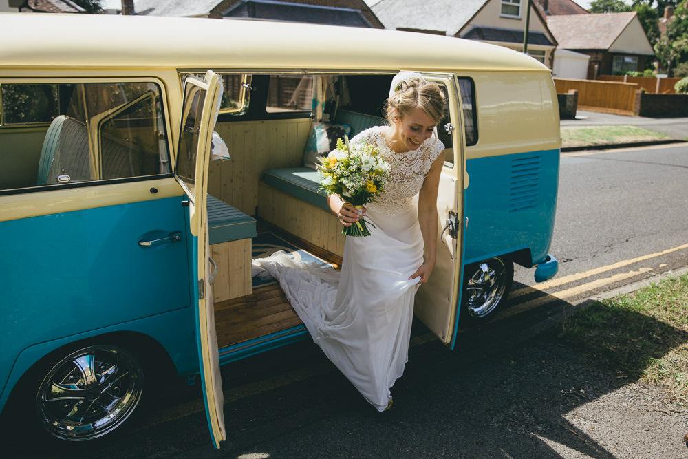 VW Camper Van Transport Damerham Village Hall Wedding Lisa-Marie Halliday Photography