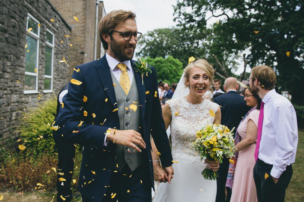 Confetti Throw Damerham Village Hall Wedding Lisa-Marie Halliday Photography