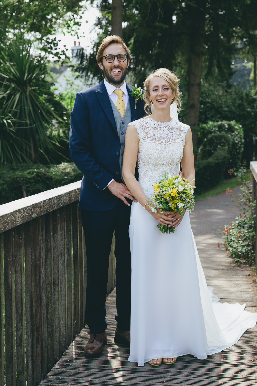 Dress Gown Bride Bridal Lace Top Back Damerham Village Hall Wedding Lisa-Marie Halliday Photography