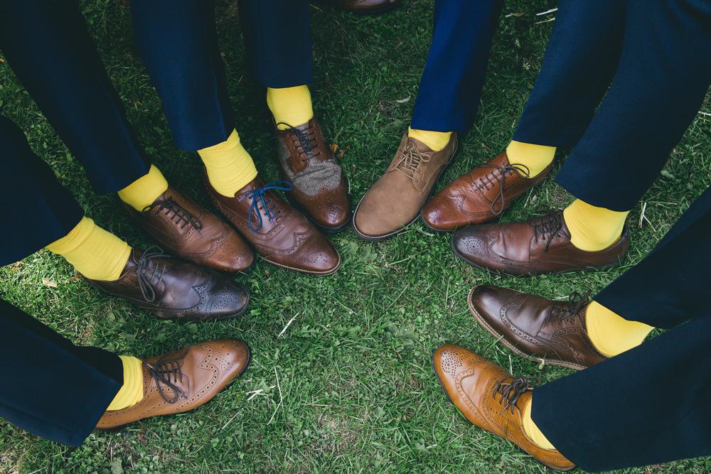 Yellow Socks Groom Groomsmen Damerham Village Hall Wedding Lisa-Marie Halliday Photography